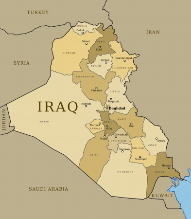 iraq: Map of Iraq with provinces (governorates) in various colours and cities: Baghdad, Mosul, Karbala, Najaf and others