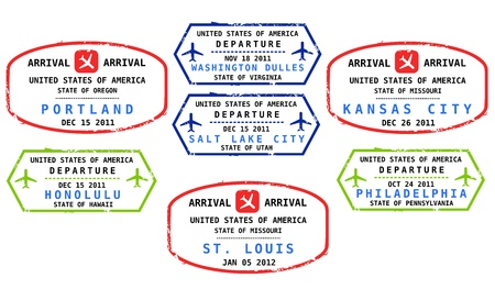 Travel stamps from USA. Grungy stamps (not real). USA destinations: Portland, Honolulu, Washington, Salt Lake City, St. Louis, Kansas City and Philadelphia. Vector