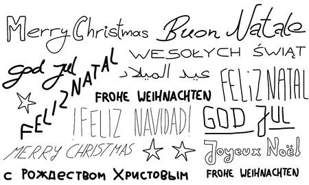 portugese: Merry Christmas - holiday wishes doodle in multiple languages. Christmas background. Illustration