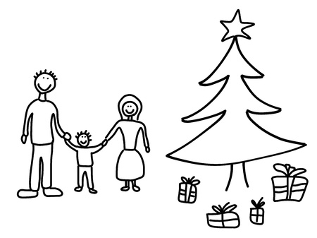 Happy family: mother, father and child. Christmas at home - Christmas tree and gifts. Stock Vector - 15398484