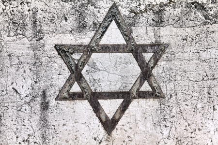 judaism: Star of David - Jewish symbol on an old Hebrew grave in Milan, Italy.