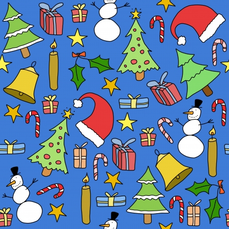 Seamless pattern with Christmas trees, gift icons and symbols. Holiday background doodle. Stock Vector - 15440089
