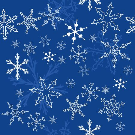 Seamless pattern with snowflake winter icons. Christmas background. Vector