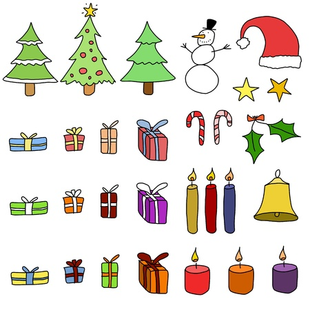 Collection of Christmas items. Christmas objects set - doodle illustration. Stock Vector - 15440091