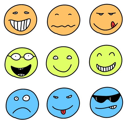 Smiley faces - doodle emoticon expressions. Happy, sad and confused balls. easily editable. Vector