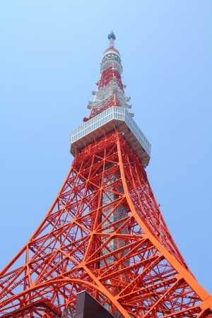 communication tower: Tokyo, Japan - famous red Tokyo Tower. Landmark of Japanese capital city. Editorial