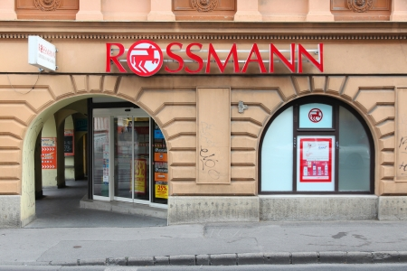 PECS, HUNGARY - AUGUST 11: Rossmann cosmetics store on August 11, 2012 in Pecs, Hungary. As of 2011 Rossmann has 2,531 stores and 31,000 employees. Stock Photo - 15546943