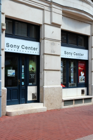 SZEGED, HUNGARY - AUGUST 13: Sony Center store on August 13, 2012 in Szeged, Hungary. Sony is a multinational electronics conglomerate. It was ranked 87th on the 2012 list Fortune Global 500. Stock Photo - 15546942