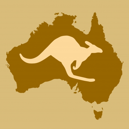 australia map: Map of Australia with kangaroo shape. Outline country map. Illustration