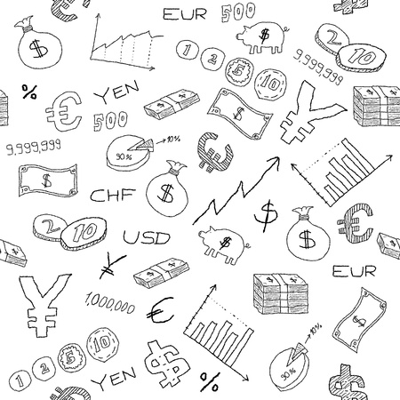 Patrón sin fisuras con símbolos de dinero, de negocios y financieros de arena de iconos. Empresas fondo doodle.