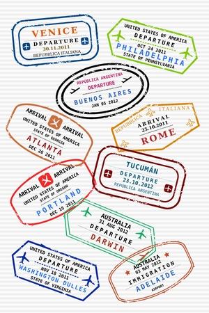 aduana: Varios sellos de visado de colores (no real) en una p�gina del pasaporte. Los viajes internacionales de negocios concepto. Visas de viajero frecuente.