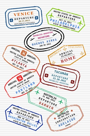 Various colorful visa stamps (not real) on a passport page. International business travel concept. Frequent flyer visas. Vector