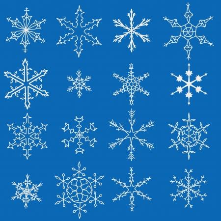 Fiocco di neve inverno icone. Set di simboli fiocco di neve.