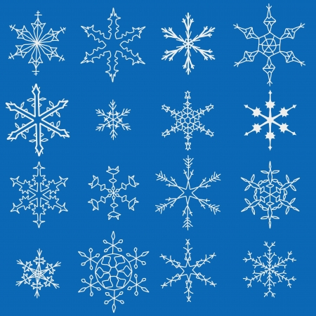 Snowflake winter icons. Set of snow flake symbols. Vector