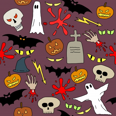 Seamless pattern with Halloween icons and symbols. Scary background doodle. Stock Vector - 15713943