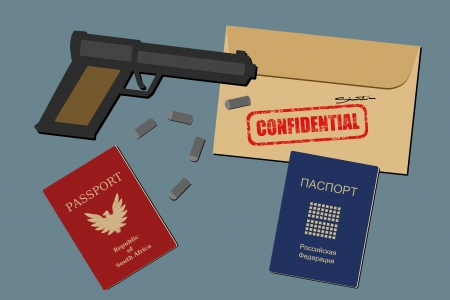 espionage: Secret documents, falsified passports, gun and bullets - spy objects and espionage equipment illustration
