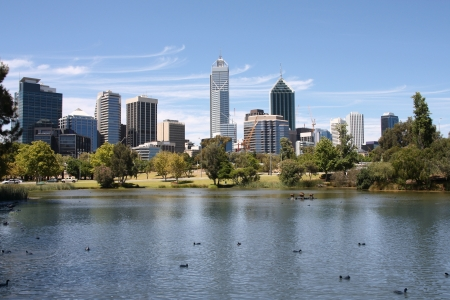 perth: Perth, Australia. View from John Oldany park. Australian skyscrapers water reflection. Stock Photo