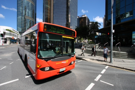 brisbane: BRISBANE, AUSTRALIA - MARCH 22: People ride the free bus on March 22, 2008 in Brisbane, Australia. Brisbane Buses had record 78.76 million passengers in financial year 2010-11.