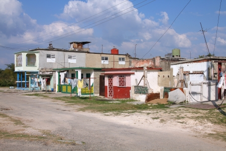 impoverished: Street view in Cienfuegos, Cuba. Poor rural architecture. Stock Photo