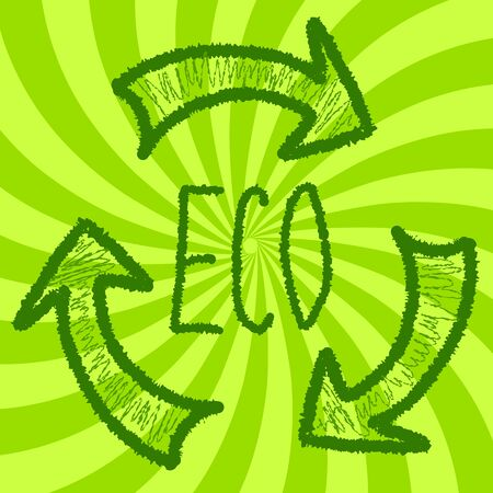 illustration promoting: Eco background illustration promoting recycling and environmentally friendly approach