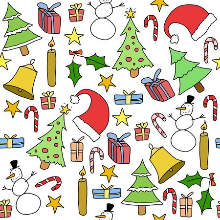 Seamless pattern with Christmas trees, gift icons and symbols. Holiday background doodle. Vector