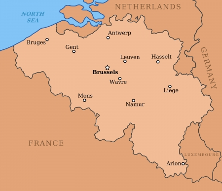 liege: Belgium map with major cities: Brussels, Mons, Antwerp, Liege and others Illustration