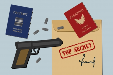 Secret documents, fake passports, gun and bullets - spy objects and espionage equipment illustration Illustration