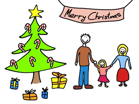 Happy family: mother, father and child. Christmas at home - Christmas tree and gifts. Child-like illustration. Stock Vector - 16265784