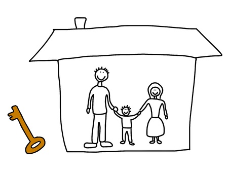 Happy family: mother, father and child. New home - moving in concept. Child-like illustration.