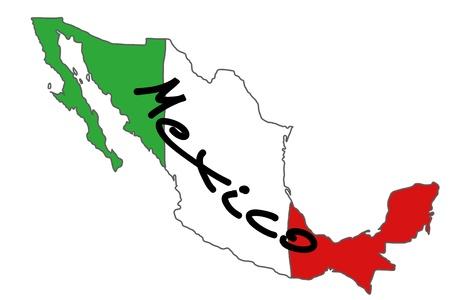 mexican flag: Mappa di Messico con i colori della bandiera messicana