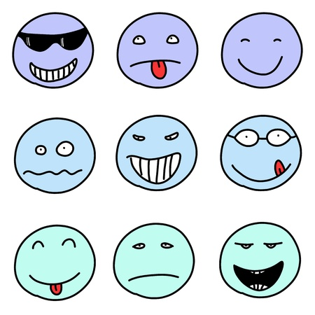Smiley faces - doodle emoticon expressions. Happy, sad and confused balls.  Vector