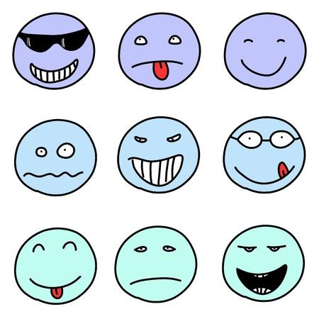 Smiley faces - doodle emoticon expressions. Happy, sad and confused balls.  向量圖像