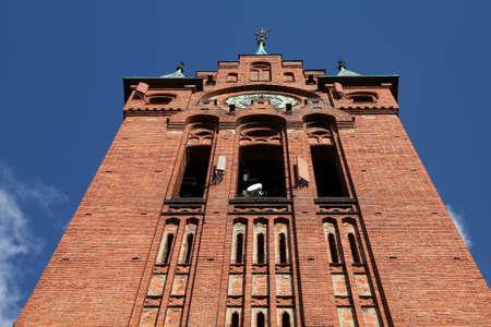 telecommunications equipment: Poland - Bydgoszcz, city in Kuyavia (Kujawy) region. Church of Saint Andrew Bobola, neogothic landmark with masked telecommunications equipment.