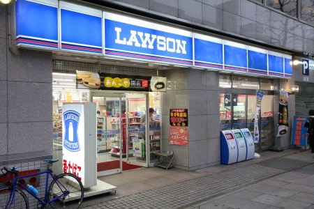 OKAYAMA, JAPAN - APRIL 22: Customers visit Lawson Station store on April 22, 2012 in Okayama, Japan. Lawson is one of largest convenience store franchise chains in Japan with 10,326 shops. Stock Photo - 16377605