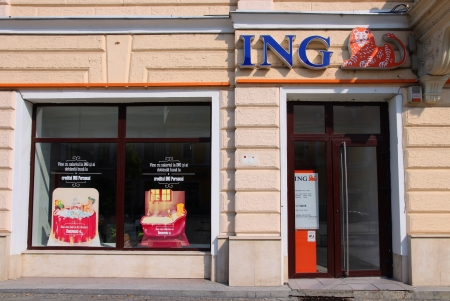 ing: CLUJ NAPOCA, ROMANIA - AUGUST 26: ING Bank branch on August 26, 2012 in Cluj-Napoca. ING Group serves customers in 45 countries and had 5.77bn EUR profit in 2011. Editorial