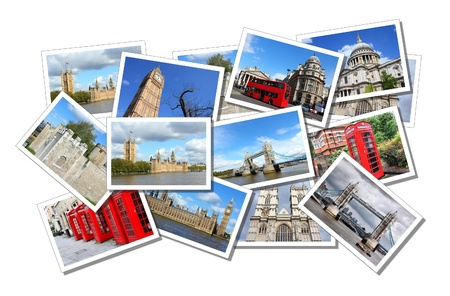 Postcard collage from London in England, United Kingdom. All photos taken by me and available also separately. Editorial