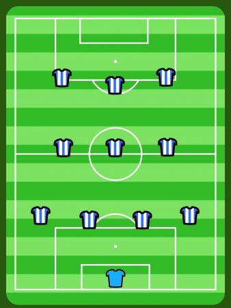 tactics: Soccer field illustration. Football tactics and strategy - popular 4-3-3 team formation.