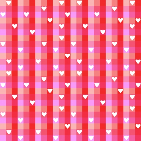 Checkered background illustration with hearts. Colorful checkered seamless pattern for Valentine's Day wrapping paper. Stock Vector - 16540475
