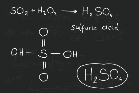 chemistry lesson: Hand written scribble illustration - inorganic chemistry lesson. Sulfuric acid, inorganic mineral acid compound - molecule structure. Illustration
