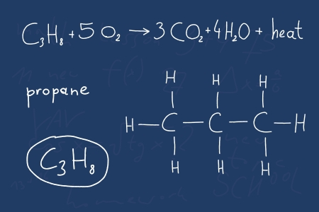 Hand written scribble illustration - organic chemistry lesson. Propane, organic alkane (saturated hydrocarbon) compound - molecule structure. Vector