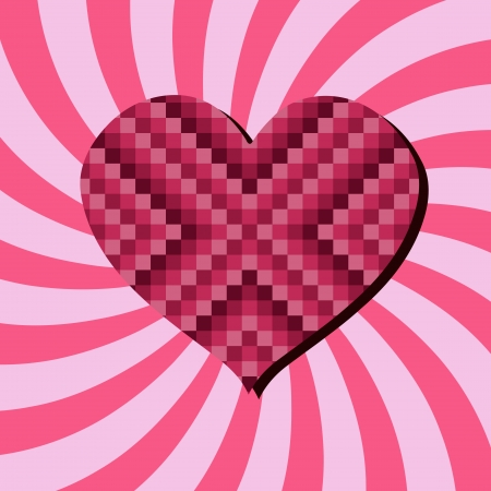 Romantic celebration background for Valentine's Day. Heart and concentric rays backdrop. Pixel checkered heart - digital love. Stock Vector - 16540499