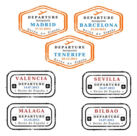 Travel stamps from Spain. Grungy stamps (not real). Spanish destinations: Madrid, Barcelona, Tenerife, Valencia, Seville, Malaga and Bilbao. Vector
