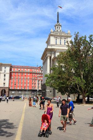 SOFIA, BULGARIA - AUGUST 17: People stroll next to famous Largo on August 17, 2012 in Sofia, Bulgaria. Sofia is the largest city in Bulgaria and 15th largest in European Union (as of 2012). Stock Photo - 16743706