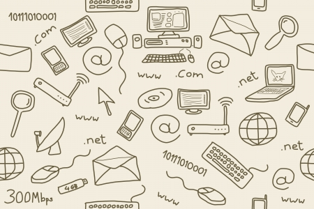 Seamless pattern with computer, internet and networking icons and symbols. Internet background doodle. Stock Vector - 16617442