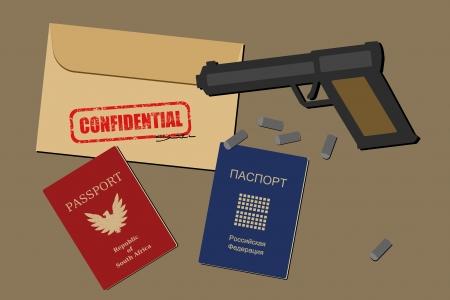 Los documentos confidenciales, pasaportes falsificados, armas de fuego y balas - objetos de espionaje e ilustración de equipo de espionaje
