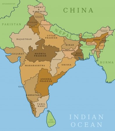india map: India map. Outline illustration country map with state shapes, names and borders.