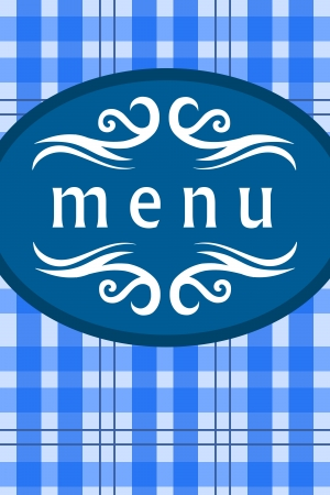 establishment: Restaurant menu front cover design. Food establishment design.