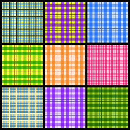 Checkered background illustration. Set of colorful checkered seamless patterns. Typical patterns for tablecloth designs. Stock Vector - 16617446