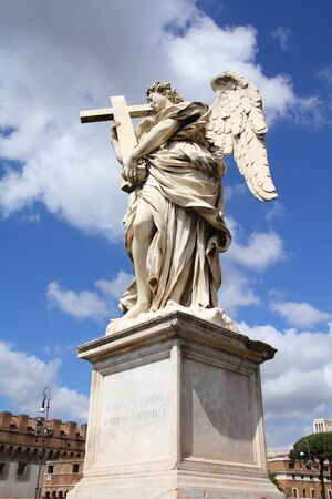 Angel in Rome, Italy. One of the angels at famous Ponte Sant Angelo bridge. Baroque sculpture by Ercole Ferrata. photo