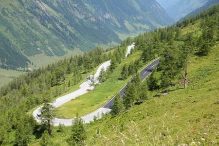 hohe tauern: Mountains in Austria. Hohe Tauern National Park. Hochalpenstrasse - famous mountain road. Stock Photo